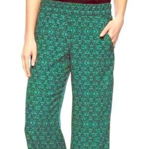 Splendid green navy print wide-leg palazzo pants